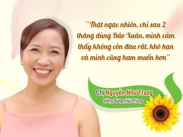 Chị Nguyễn Như Trang chia sẻ sau khi dùng viên uống nội tiết tố nữ bảo xuân