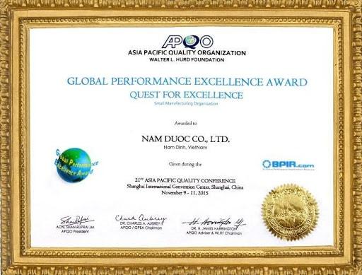 Giải thưởng global của công ty nam dược